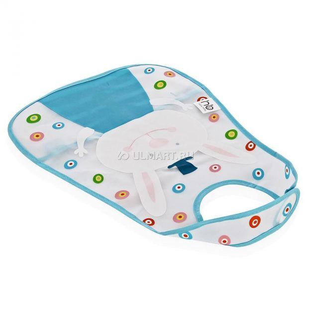 фото Нагрудник Happy Baby Children's bib на липучке голубой, 1 шт (16005)