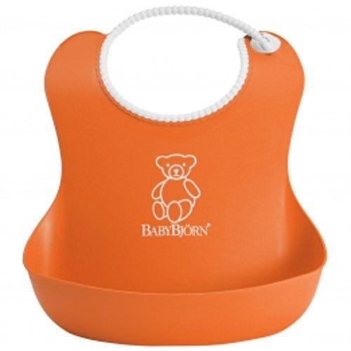 фото BabyBjorn Нагрудник мягкий пластиковый для кормления ребенка [ art. 0462 ], 70 / оранжевый
