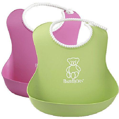 фото BabyBjorn Нагрудник мягкий пластиковый для кормления ребенка (2 шт.) [ art. 0462 ], 01 / Розовый-зеленый