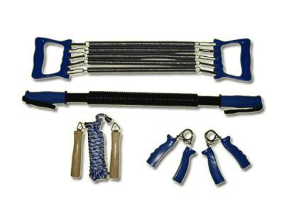 фото Набор фитнес: эспандеры кистевые - жёсткая ручка, плечевой 5 пружин - пластиковые ручки, скакалка: шнур резин.- деревянные ручки, эспандер-палка пружина