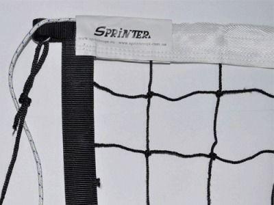 фото Сетка волейбольная диаметр нити 1,8 мм, ячейка 100*100 мм, размер 1 м * 9,5 м , обшитка сверху стропой, длина троса - 12,5 м. 4008-Y