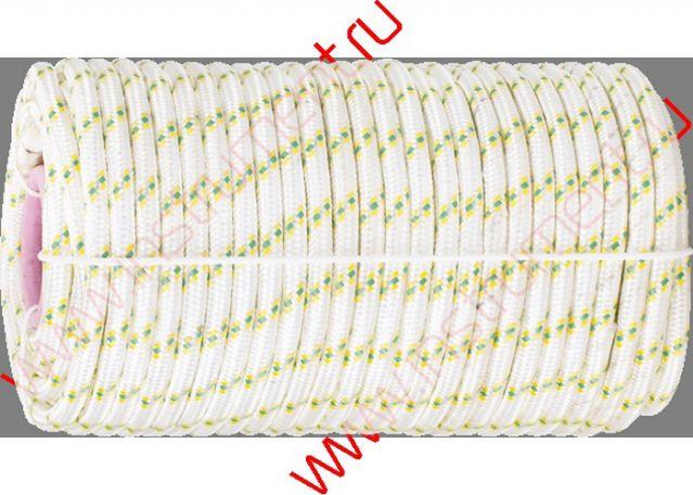 фото Фал плетёный капрон 16-прядный с капрон. серд. 6 мм, бухта 100 м, 650 кгс