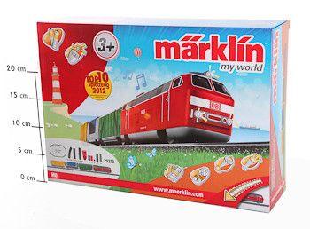 фото Ж/Д(овал112*76см)Marklin BOX39, 7x28, 5x10, 7см(1лок, 3товар. ваг. , пульт, батар, 16рельс, свет, звук)арт29210