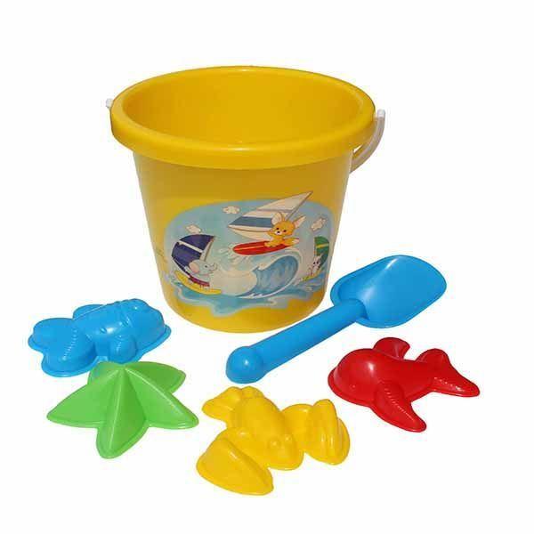 фото У540 Игра Детский песочный набор (ведро большое, 4 формы для песка, совок) с рисунком