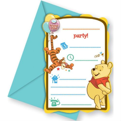 фото Приглашения в конвертах Винни-Пух и Пятачок, 6 шт.