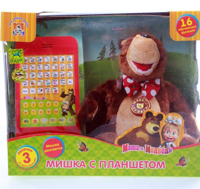 фото Маша и Медведь. Мягкая игрушка Мишка с планшетом 30см (V91701/25)
