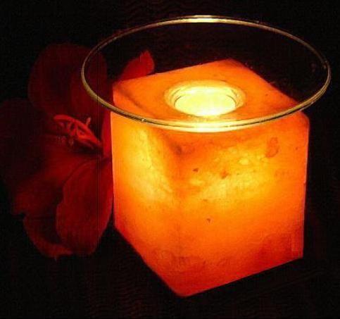 (Солевая) Соляная лампа Арома «КУБУС» со стеклянной тарелочкой SLL-12014-П Wonder Life