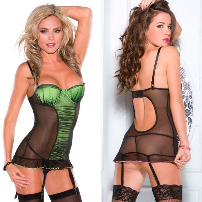 Черно-зеленое платье с лифом пуш-ап 1633green L CQ