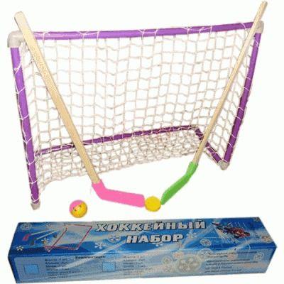 Хоккейный набор (2клюшки+2ворот с сеткой+шайба+мячик) в коробке