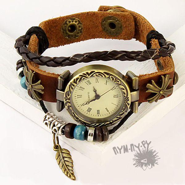 """Кожаные часы-браслет """"Покахонтас"""""""