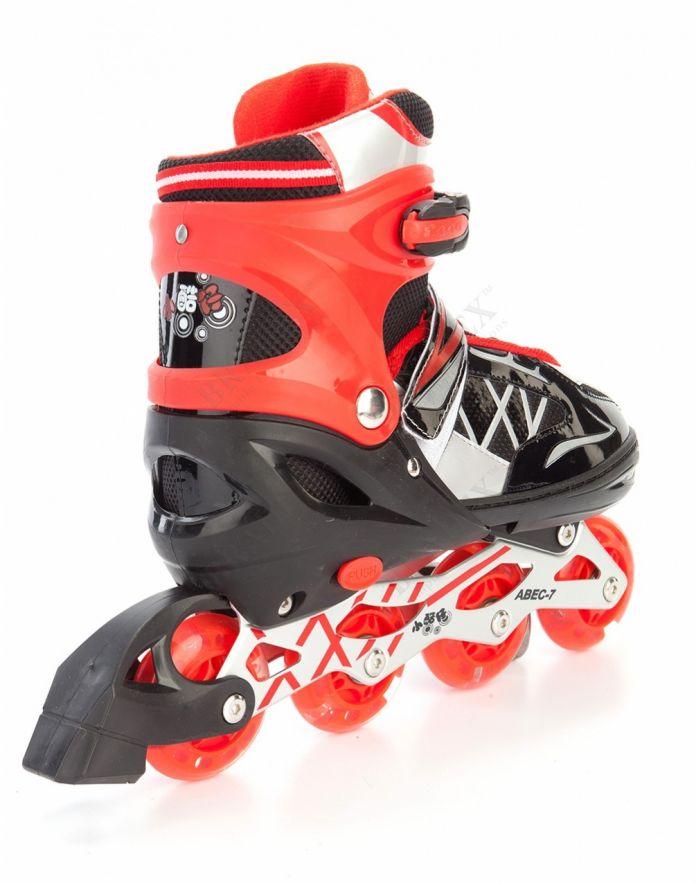 Коньки роликовые раздвижные, размер 35-38 см (красный) (Roller skates)