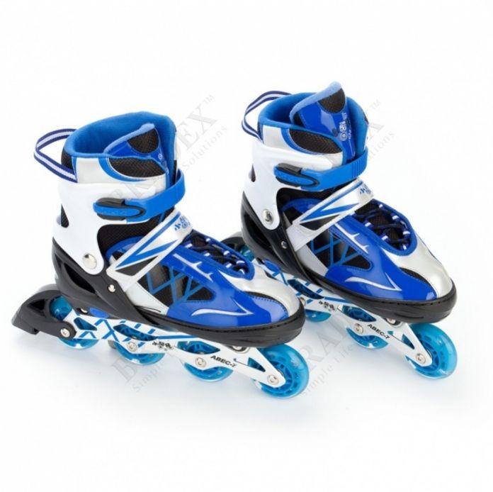 Коньки роликовые раздвижные, размер 39-42 см (синий) (Roller skates)
