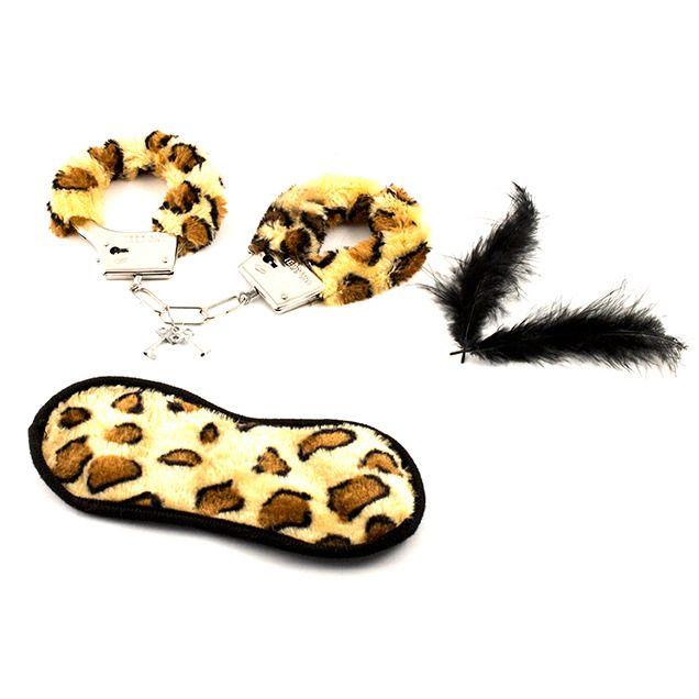 Набор Наручники + повязка на глаза  леопард Эврика