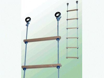 Лестница верёвочная 10 ступеней, дерево. Предназначена для детей дошкольного и школьного возраста (от 3 до 7 лет) весом до 30 кг. Длина 2,5 м. Владимир