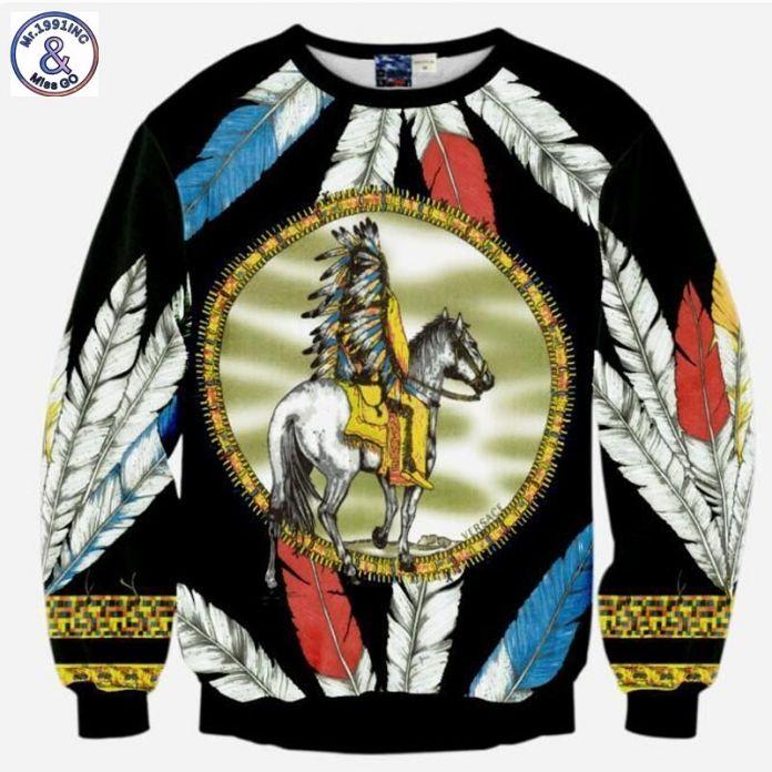 Mr.1991INC 3D толстовка мужчины костюмы топы забавный печати перо Коренных верховая лошадь человек 3d толстовки тонкий тонкий Азии S-XL