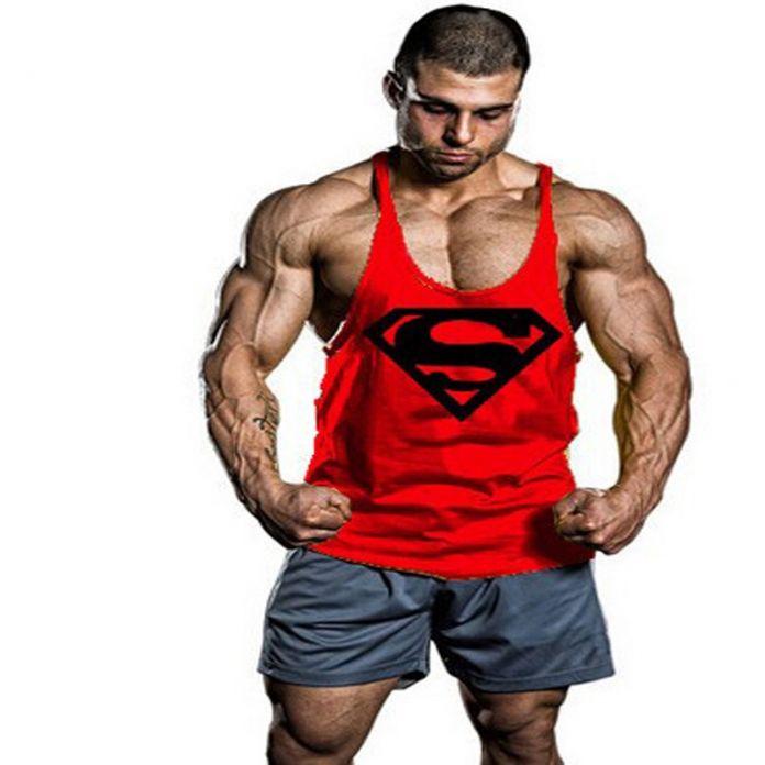 Супермен Singlets Мужские Топы Рубашка, Тренажеры Фитнес мужская GoldsGym Майка повседневная Одежда фитнес мужчины