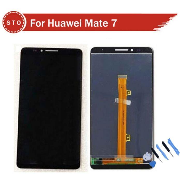 Оригинал Для Huawei mate 7 ЖК Экрана С Сенсорным Экраном Стеклянной Панели Планшета Ассамблеи Черный белое Золото + Инструменты Бесплатная Доставка