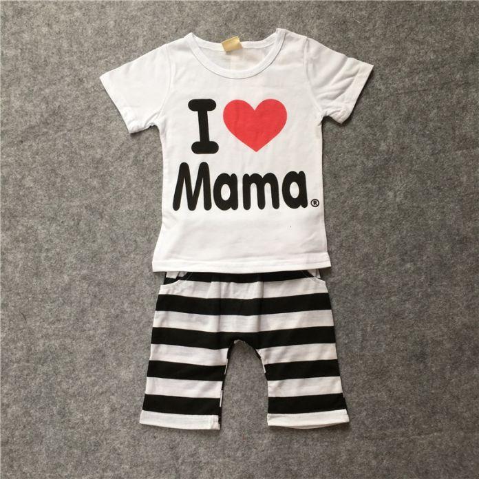 Новый 2014 мальчики и девочки набор одежды 100% хлопок костюм я Люблю Papa & Mama письма С Коротким рукавом Футболки + полосатый PP брюки