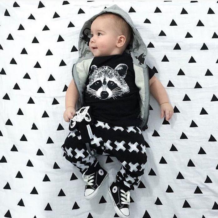 2016 Новый набор детская одежда мужская Хлопка с коротким рукавом Лиса футболка + Брюки 2 шт. Наряды Набор новорожденный ребенок мальчик в девочке установленные одежды