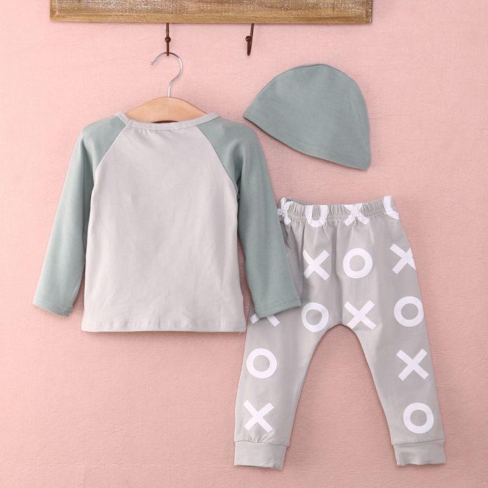 Одежда для новорожденных набор 2015 3 шт. Детские Мальчики Девочки Fox Топ + Брюки + Hat Set Новорожденный Хлопка Ползунки ребенок мальчик одежда Высокого Качества