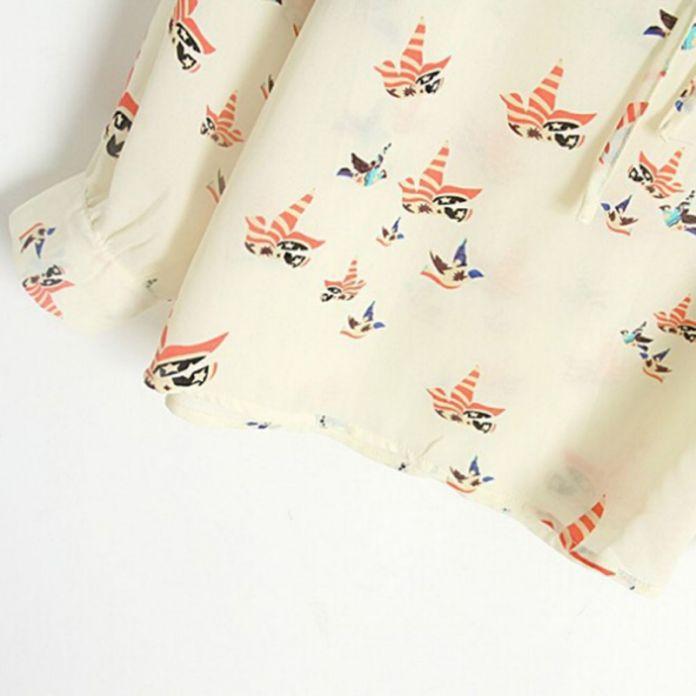Женщины Мода Шифон Топ Блузка Короткие Длинным Рукавом Голубь Печати Случайные Свободные Рубашки Blusa Feminino