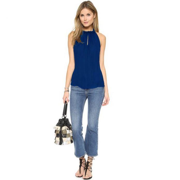 2016 новая стиль блузка рубашки женские без рукавов одежда для женщин кружево топ большие размеры классическая кофта туника шифон блузки рубашка женская чёрная блузка топы женские LJ3835A
