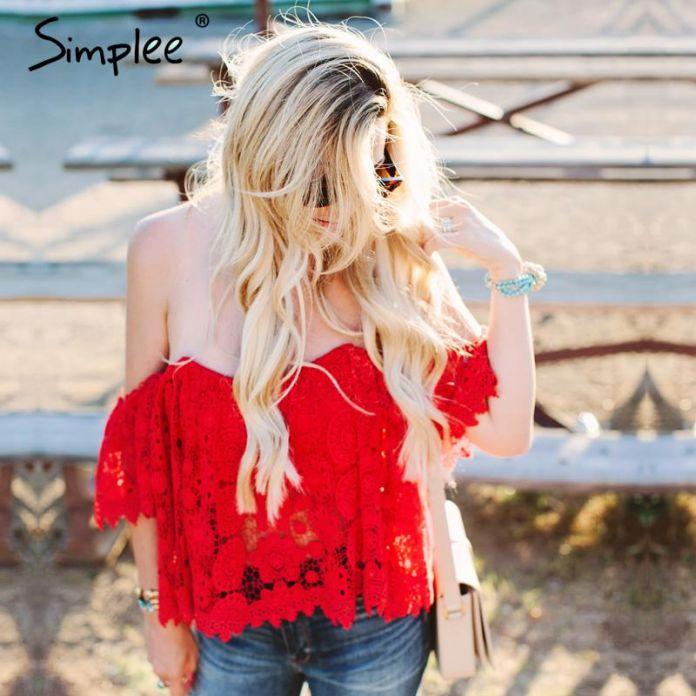 Simplee Одежда Элегантный выдалбливают кружева крючком белый верхней части пробки С плеча летний пляж блузка blusas Без Бретелек красный женщин топы