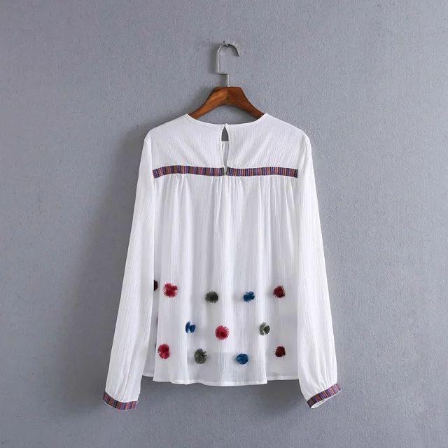 2017 женщины мода элегантные длинным рукавом вышивка Помпон аппликации повседневная пуловер блузки рубашки тонкий za марка топы blusas