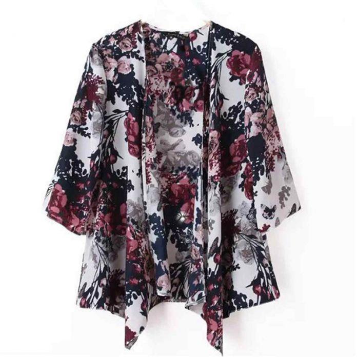 S-6XL Плюс Размер 2016 Лето Женщины Рубашка Кимоно Boho Кардиган Старинные Цветочный Принт Блуза Свободные Шаль Леди Чешские Пальто Куртки