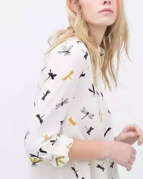 2016 мода женщины стрекоза печатается с длинным рукавом элегантный женский шифон блузки ZA свободного покроя бренда вершины Blusa Feminina S105