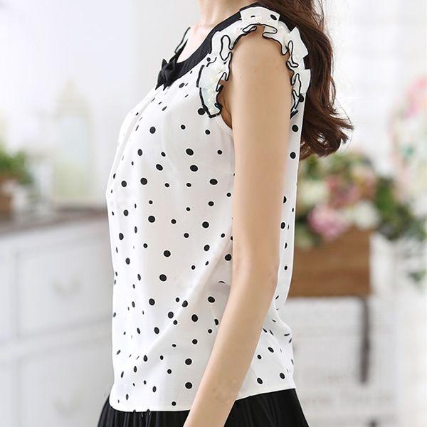 Рубашка женщин горошек горох шифон блузка лето топы женское рубашки женщин топы вышивка бисером рукав свободного покроя шифон женственные блузы