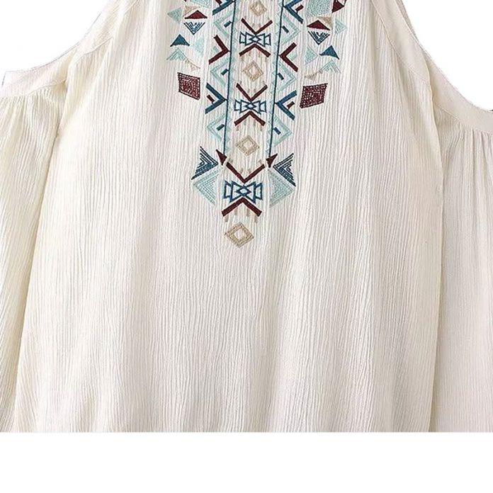 Женщины тотем Вышивка с плеча рубашку старинные свободные длинным рукавом блузки blusa feminina мода повседневная одежда топы LT586