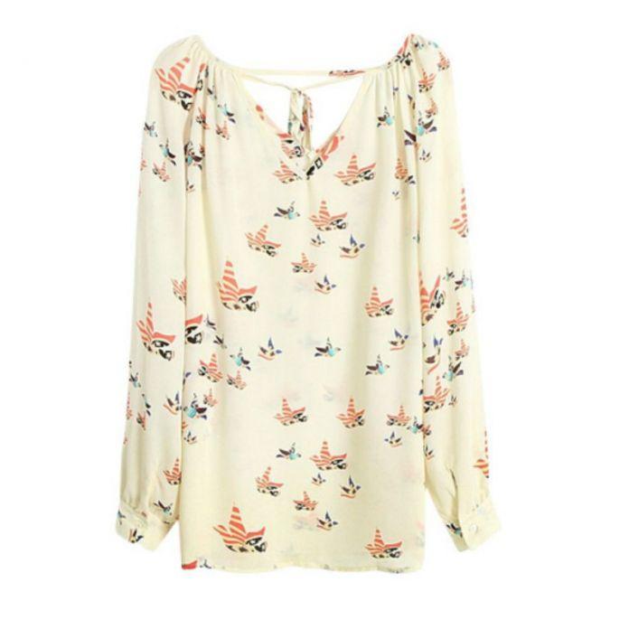 Мода Лета Женщин Шифоновая Блузка С Длинным Рукавом Голубь Печати Случайные Свободные Рубашки Горячий Продавать Топ