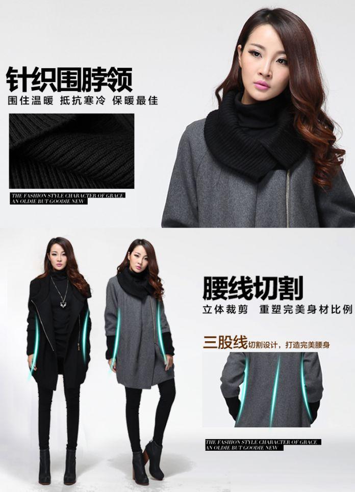 2015 женская Мода шерстяные пальто зимние вязаные воротник дамы горох пальто асимметричный кокон шерстяное пальто верхней одежды пальто XXXXXL