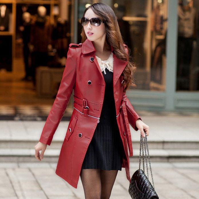 Женщины искусственная кожа куртка может разделить длинные или короткие стиль пояса искусственной кожи плащ кофеварка / красный / черный Большой размер 3XL 4XL