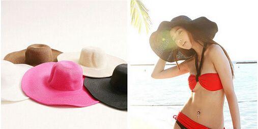 Лето женщины в складной широкий большие краев пляж солнца шляпа солома пляж кепка для дамы элегантный шляпы девочки отпуск путешествие шляпа