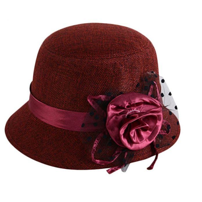 2016 Женская Мода Пляж Ретро Цветок Войлок Боулер Сплошной Цвет Шлема fedora Котелок Шапки #3546