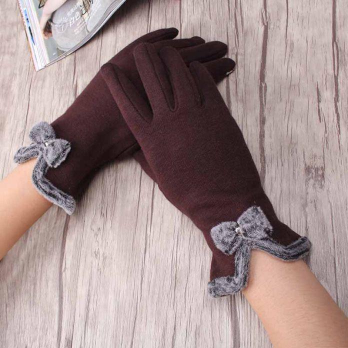 Мода Бантом Guantes Зима Мило Лук Девушка Плюшевые Полный Палец Перчатки Кашемир Толстые Теплые женские Перчатки Рукавицы Luvas
