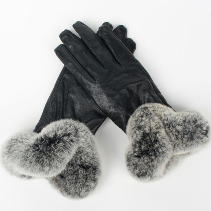 Подлинная овца кожа перчатки настоящее кроличий мех леди зима женщины тёплый настоящее овца кожи бархат ветрозащитный