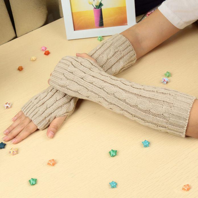Мужская зимние перчатки для мужчин и для женщин трикотажные перчатки без пальцев варежки наручные теплые длинные перчатки запястье рукавицы 10 цветов