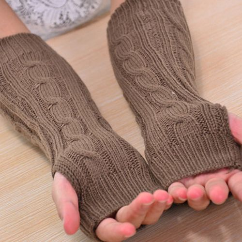 Женская Длинный Вязаный Крючком Плетеный Рука Теплее Пальцев Перчатки 8UUC