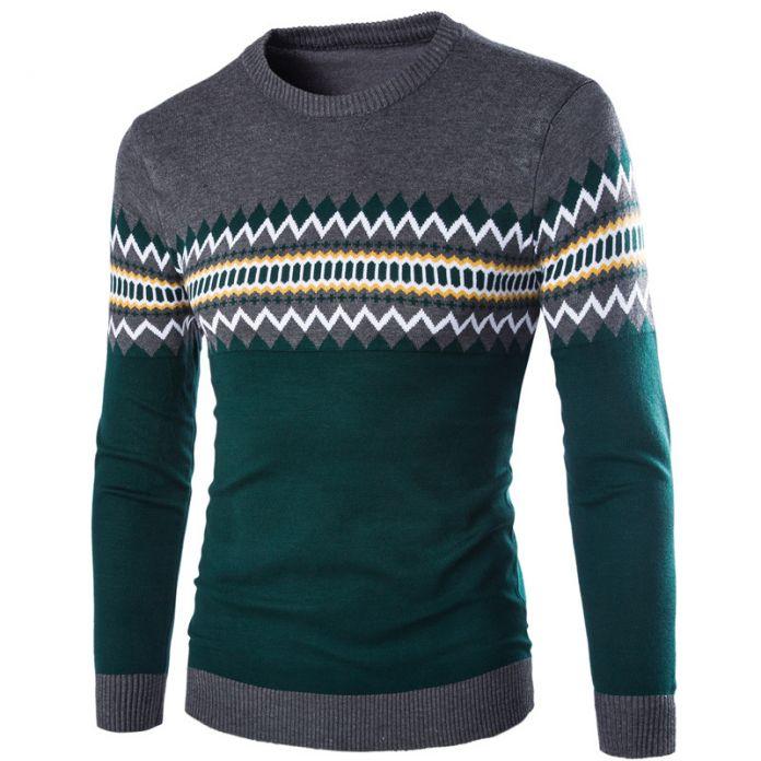 Бесплатные корабль 2015 зима новый повседневная мужчины argyle шаблон вязаный свитер пуловер о-образным вырезом мода согреться мужская одежда M-XXL