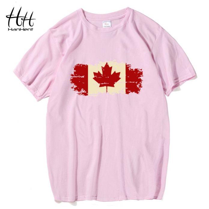 HanHent Канада Флаг 2016 Новая Мода футболки Хлопок Короткий Рукав Футболки Канадский Кленовый лист Лето Стиль Фитнес Футболки Мужчин
