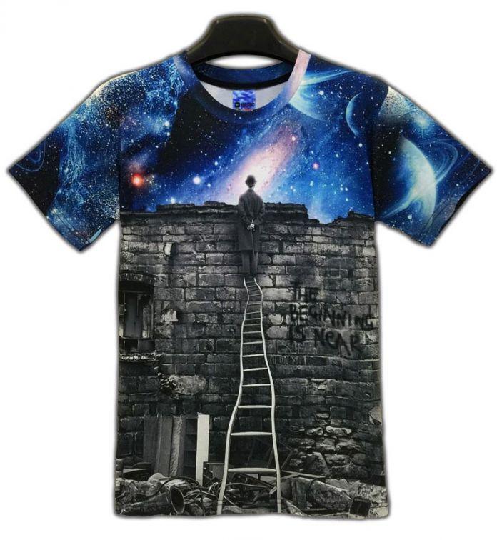 """Мужчины / женщины """" галактик космических футболка печать маг , чтобы посмотреть ночное небо 3D майка свободного покроя унисекс Harajuku ти топы"""