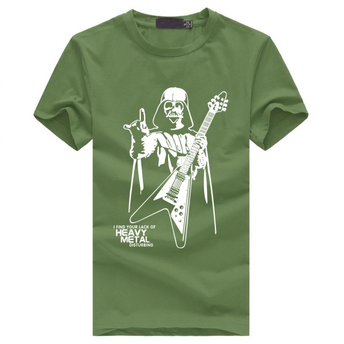 Мужчины Дарт Вейдер Heavy Metal печати Дизайнер Смешные Футболки С Коротким Рукавом Ти Творческий мода Звездные войны футболки Хлопок S-XXXL