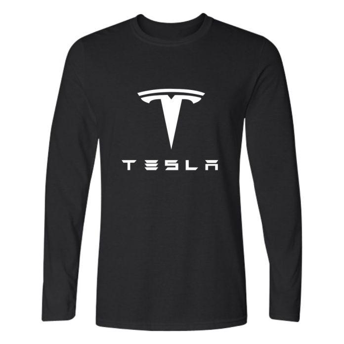 Тесла Футболки Мужчин С Длинным Рукавом Футболки с Tesla Motors Черная и Белая Футболка в 4XL Бренд Футболки