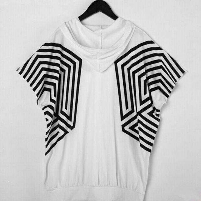 KPOP EXO звезда EXO передозировка SEHUN TAO с коротким рукавом с капюшоном рубашка лабиринт bat рукава сторона почтовый свободные капюшоном Футболки мужчин и женщин т рубашка