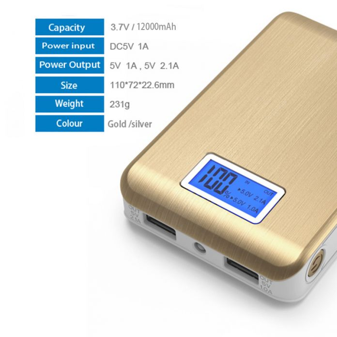 DCAE Power Bank 12000 мАч Dual USB Выход Внешняя Батарея Powerbank 18650 портативный зарядное устройство для iPhone 6 s Tablet