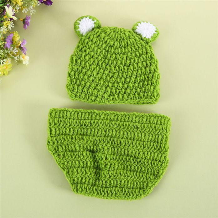 Новорожденный Крючком Костюм Фото Опора Детские Младенческой Крючком Лягушка Шляпы Beanie Трикотажные Зеленый