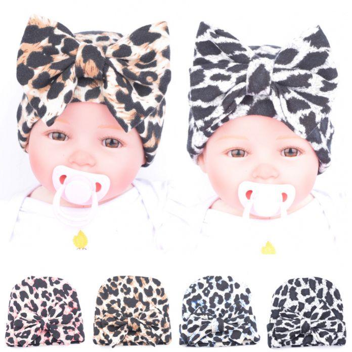 Зима Новорожденного Малыша Девушки Детские Цветочные Принты Большой Бантом Вязаная Шапка Шапка Comfys Больницы Cap Leopard fotografia Y1